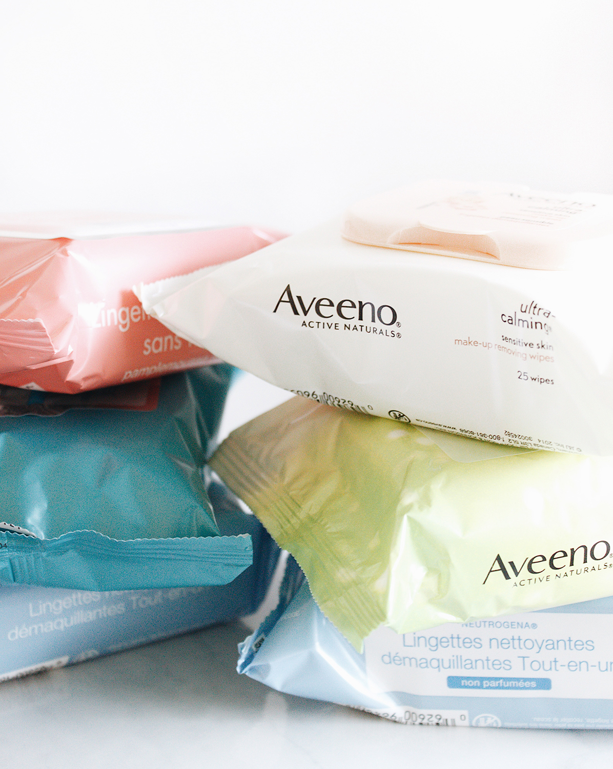 cleansing wipes from Aveeno and Neutrogena