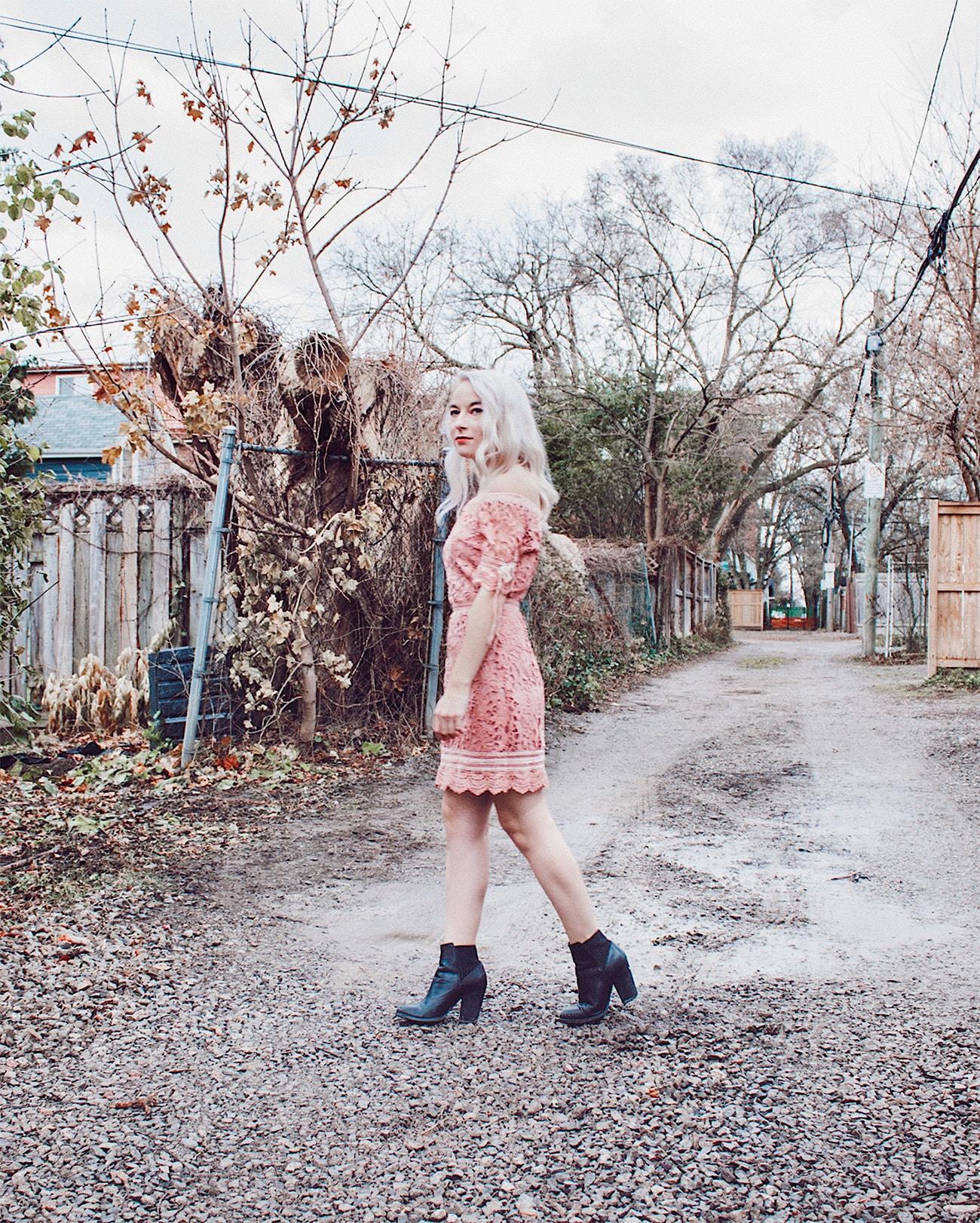 kitsu pink lace dress