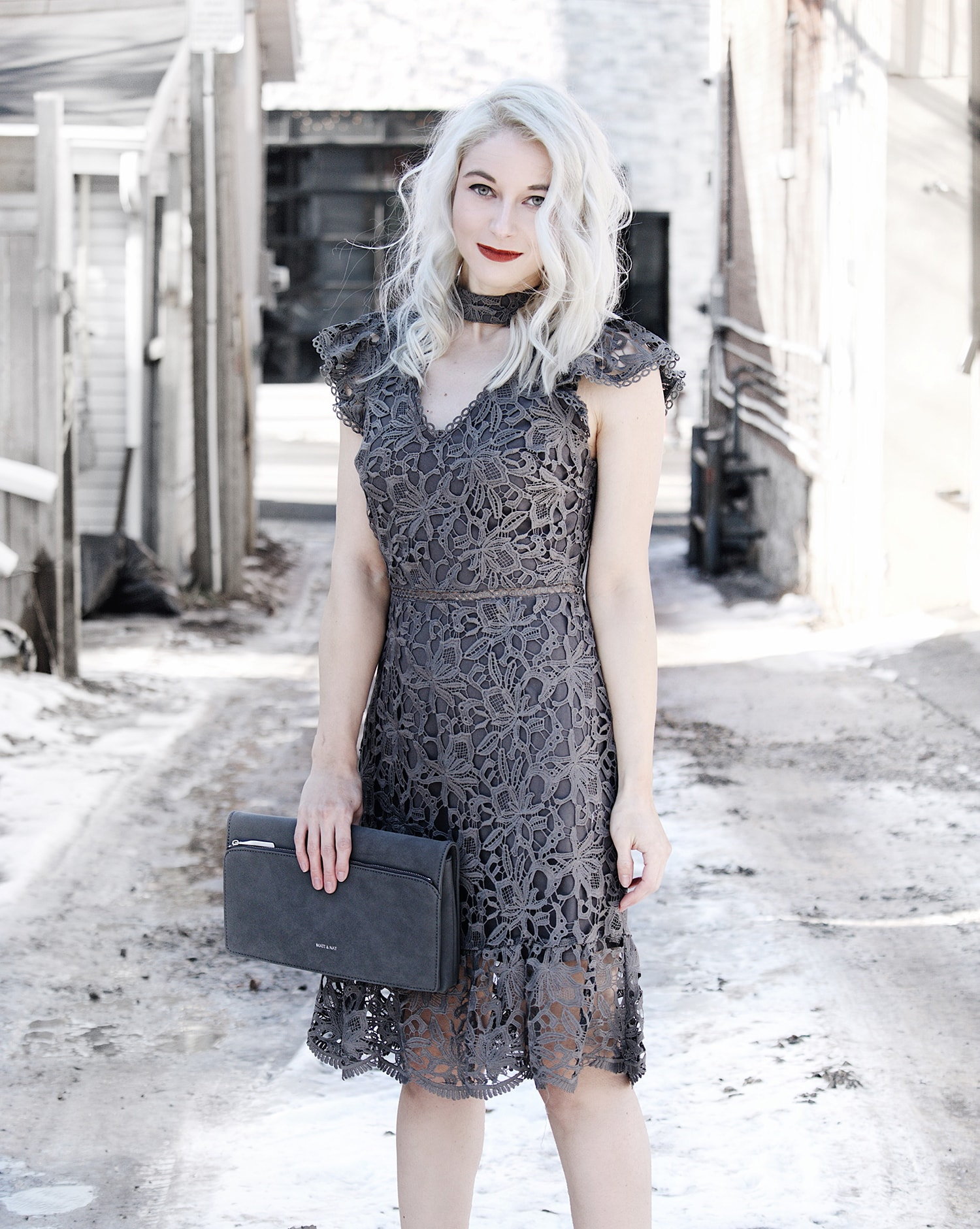 grey outfit lace dress
