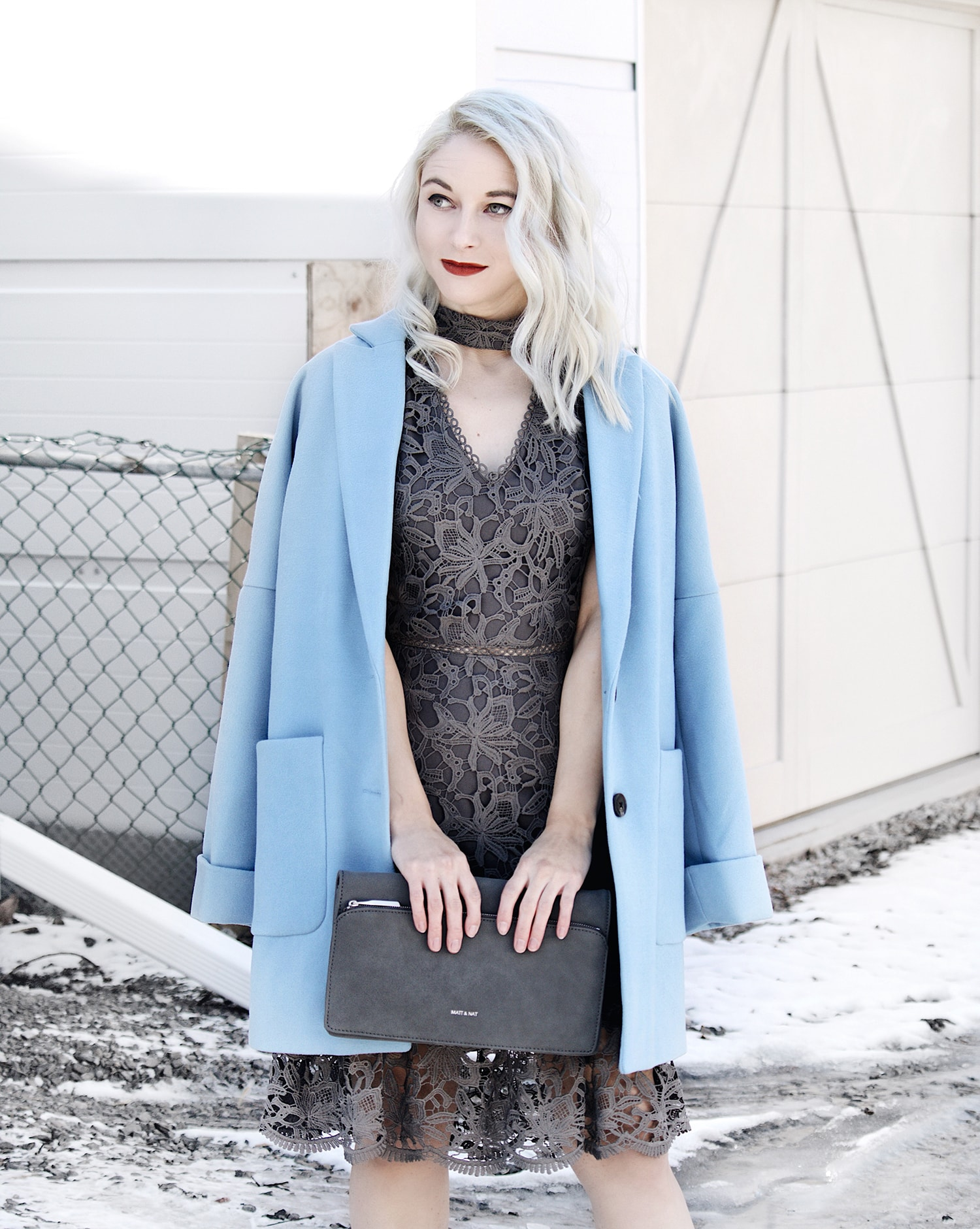 grey lace dress powder blue overcoat