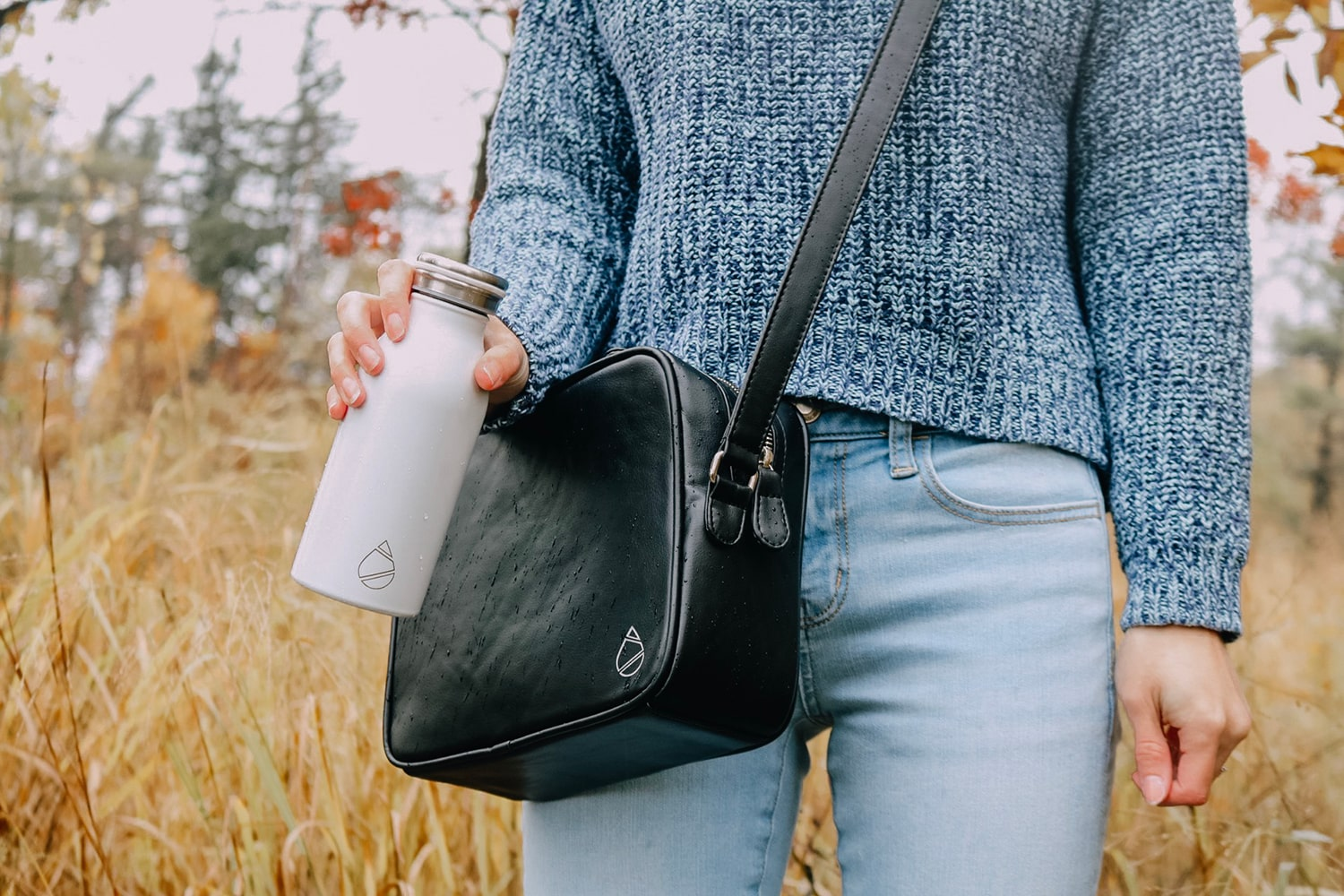 Hydriah Leather Bag and Water Bottle