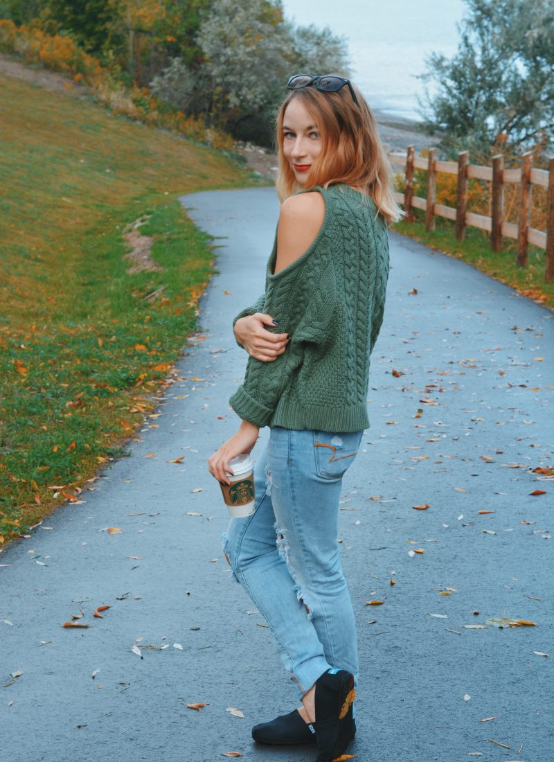Aerie Cold Shoulder Sweater