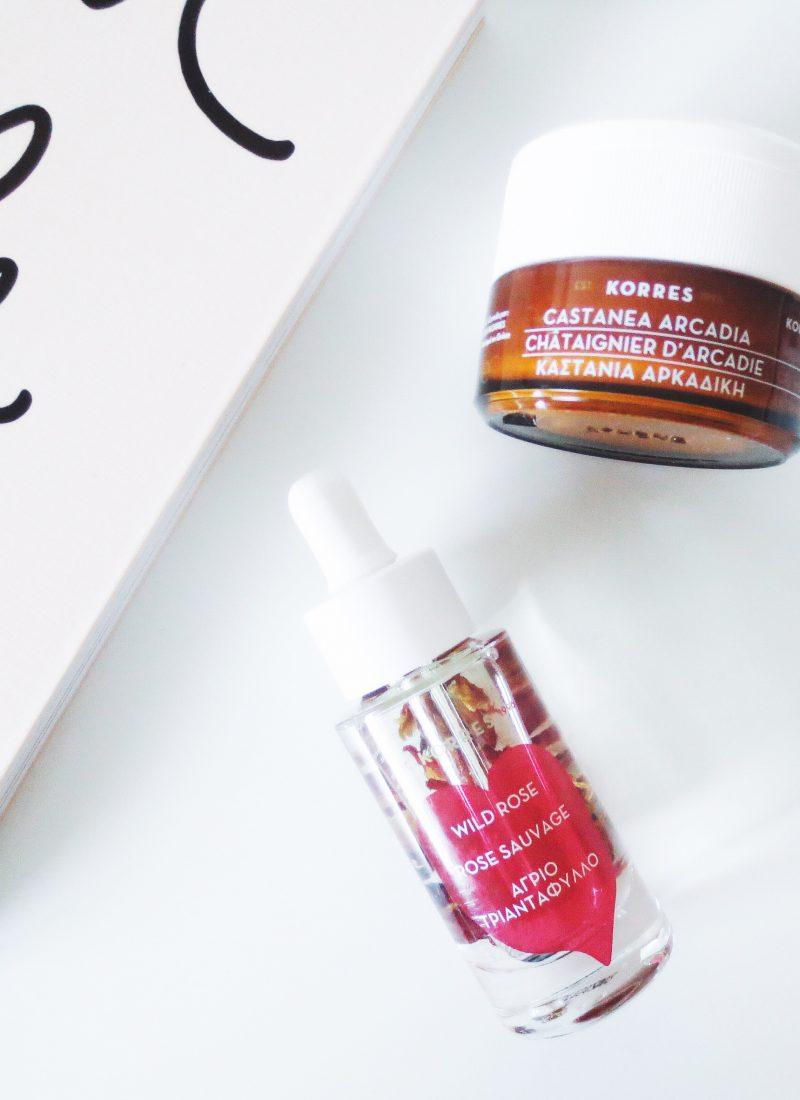 Korres wild rose brightening facial oil. castanea arcadia moisturizer