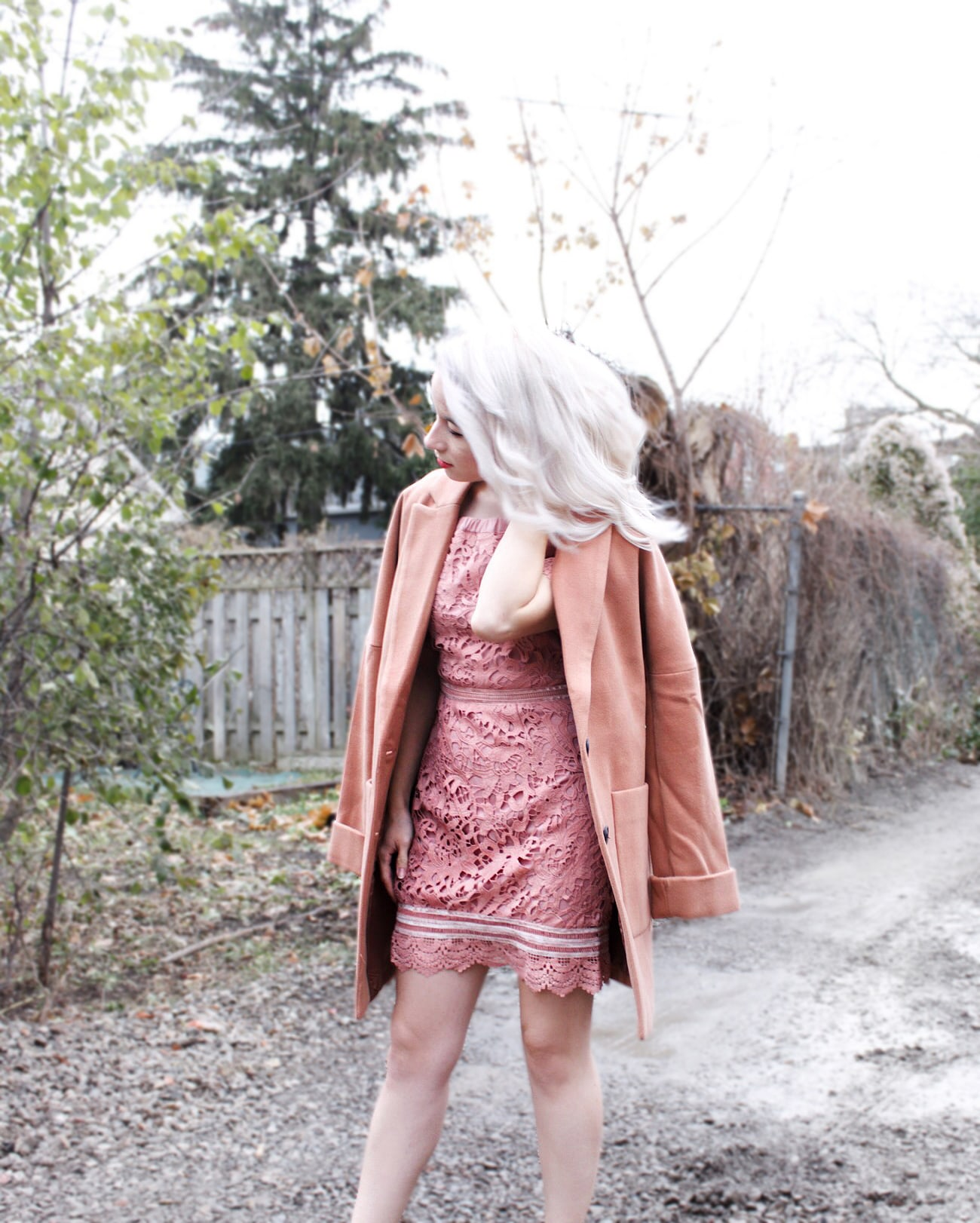 shop kitsu pink lace dress
