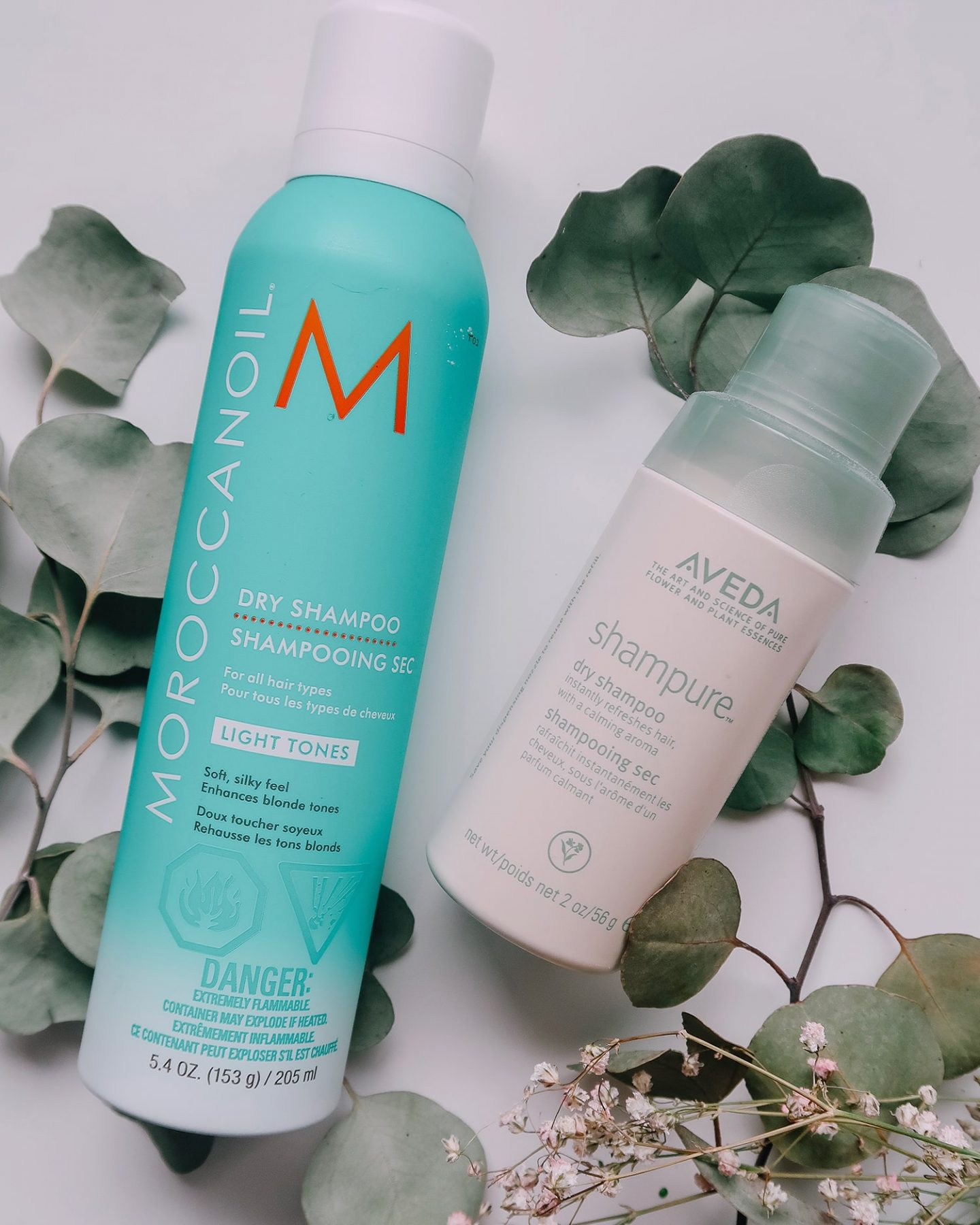aveda shampure moroccanoil dry shampoo for light tones
